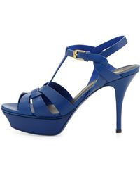 Saint Laurent Tribute Midheel Leather Platform Sandal Blue - Lyst