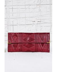 Urban Outfitters - Aztec Leather Embossed Purse in Burgundy - Lyst