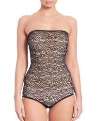 Chloé Strapless Lace Bodysuit - Black