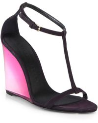 Burberry Prorsum Leyburn Suede Wedge Sandals - Lyst