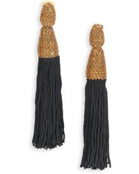 Oscar de la Renta Silk Tassel Clip-On Earrings/Goldtone - Lyst