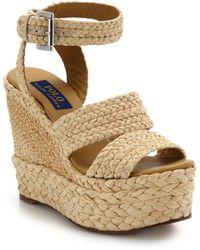 Polo Ralph Lauren Ethel Raffia Wedge Sandals - Natural