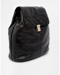 Asos Leather Quilted Flap Backpack - Lyst