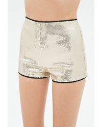 Forever 21 Gold Sequined Shorts - Lyst