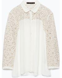 Zara Lace Yoke Shirt - Lyst
