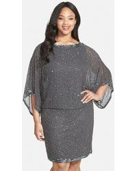 J Kara Embellished Blouson Dress - Lyst