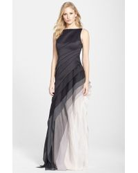 Halston Heritage Asymmetrical Satin & Voile A-Line Gown - Lyst