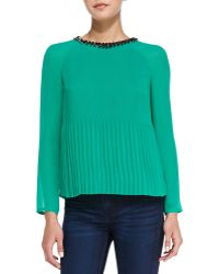 Ted Baker Lovina Bejeweled Accordion Pleated Top  - Lyst