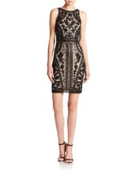 THEIA Floral Beaded Cocktail Dress - Black