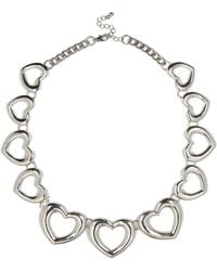 River Island Silver Tone Heart Repeat Necklace - Lyst