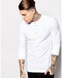 Diesel Long Sleeve Top T-Niketas Slub Henley - Lyst
