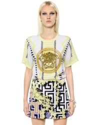 Versace Embellished Silk Crepe De Chine Top - Lyst