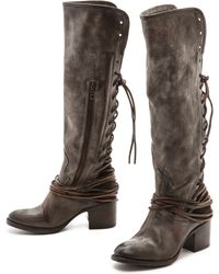 Freebird By Steven Coal Lace Up Tall Boots - Grey - Lyst