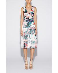 Nicole Miller Flora Tropica Pleated Dress - Lyst