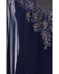 Reem Acra - Navy Embroidered Deep V Caftan - Lyst