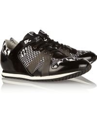 McQ by Alexander McQueen Glossed-leather Suede and Canvas Sneakers - Lyst