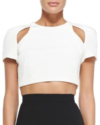 J. Mendel Short-sleeve Crop Top With Cutouts - White