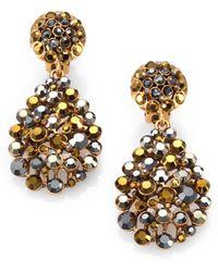 Oscar de la Renta Swarovski Crystal Teardrop Clipon Earrings - Lyst