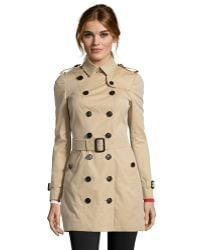 Burberry London Honey Cotton Berryford Double Breasted Trench Coat - Lyst