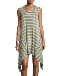 Max Studio Striped Handkerchief-Hem Tank Dress - Lyst