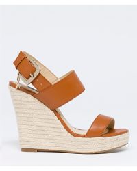 Patrizia Pepe Leather Sandals With Rope Wedges - Lyst