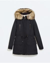 Zara Long Water Repellent Parka With Detachable Fur - Lyst