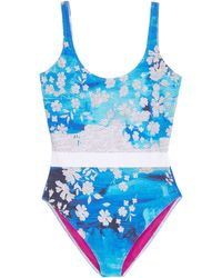 Preen Blue Splash Swimming Costume - Lyst
