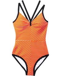 Roksanda Ilincic Olinda Vneck Striped Swimsuit - Lyst