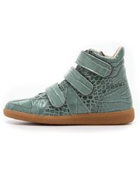 Maison Martin Margiela Croc Embossed Leather Sneakers  Blue - Lyst