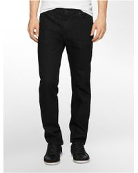 Calvin Klein Jeans Slim Straight Leg Black Wash Jeans - Lyst