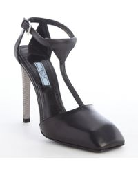 Prada Black Leather T-strap Square Toe Pumps - Lyst