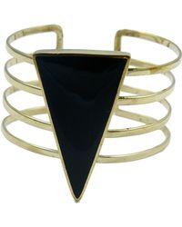 Sunahara Black Triangle Cuff beige - Lyst
