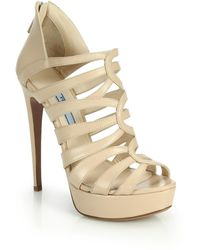 Prada Caged Leather Platform Sandals beige - Lyst