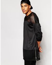 Asos Super Longline Long Sleeve T-Shirt With Mesh Panels And Side Zips - Lyst
