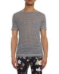 Gucci Striped Linen T-shirt - Lyst