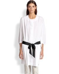 Donna Karan New York Belted Cotton Tunic white - Lyst