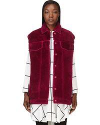 3.1 Phillip Lim Fucshia Shearling Denim Style Vest - Lyst