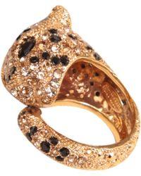 Roberto Cavalli Panther Ring With Swarovski - Lyst