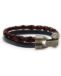 Mango | Leather Double Clasp Fastening Bracelet | Lyst