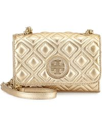Tory Burch Marion Quilted Metallic Mini Shoulder Bag - Lyst