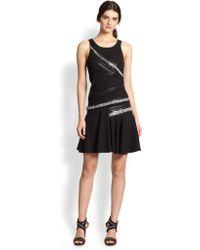 Sachin & Babi Venus Asymmetrical Fringe/Faux Leather-Trimmed Dress - Lyst