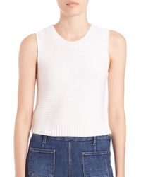 FRAME Le Cropped Cotton/silk/cashmere Sleeveless Sweater - Natural