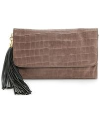 Zac Zac Posen Claudette Large Croc Embossed Fold Over Clutch Stucco - Lyst