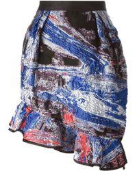 Prabal Gurung Ruffled Hem Jacquard Skirt - Lyst