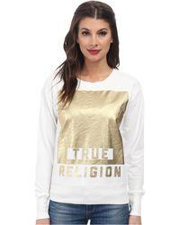 True Religion Foil Long Sleeve Pullover - Lyst
