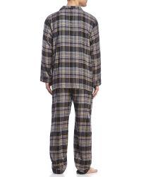 Geoffrey Beene - Grey Long Sleeve Long Leg Flannel Pajamas - Lyst