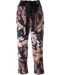 Lanvin Leaf Print Trousers - Lyst