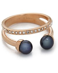 Vita Fede Ultra Mini Double Band Ring - Rose Gold/black Pearl/clear - Blue