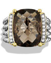 David Yurman Wheaton Ring With Smoky Quartz And Diamonds - Metallic