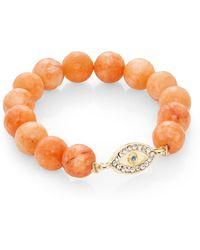 Cara Pavã© Evil Eye & Orange Jade Beaded Stretch Bracelet